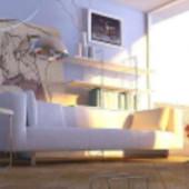 Modern Minimalist Sitting Room Scene