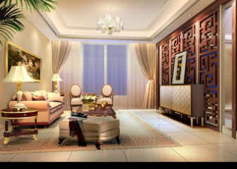 European Warm Living Room Interior Design 3dmax Model