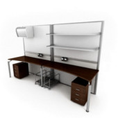 Office Couple Desk Combination 3dsMax Model