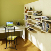 Modern Minimalist Study Room Interior 3dsMax Scene