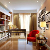 Modern Cozy Study ROom Scene 3dmax Model