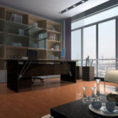 Modern Library Room Interior Design Free 3dmax Model