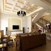 Duplex Wooden Style Living Room