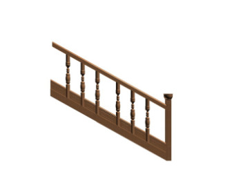 Wooden Ancient Stair 3D Model