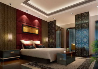 Chinese-style Luxury Bedroom Scene Free 3dmax Model