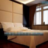 Simple Mahogany Decorated Bedroom