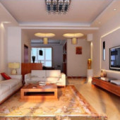 Warm Chinese Style White Living Room