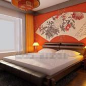 Chinese Style Orange Simple Bedroom