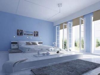 Comfortable Minimalist Light Blue Bedroom