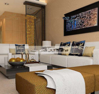 Beautiful And Comfortable Golden Living Room