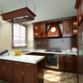 Solid Wood Kitchen Free 3dmax Model
