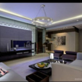Conceptual Free 3dmax Model Of Family Living Room