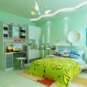 Bright Green Line Children's Bedroom