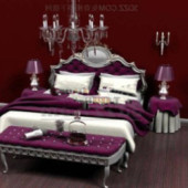 Purple Noble Bed Free 3dmax Model