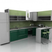 Green Cabinets Free 3dmax Model