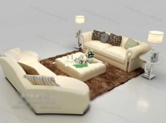 Free 3dmax Model White Sofa