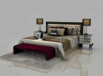 Classic Style Double Bed Free 3dmax Model