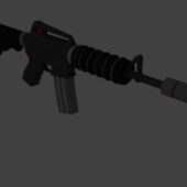 Low Poly M4 A1 With Silencer