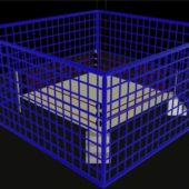 Wrestling Ring With Old School Cage