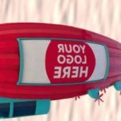 Cartoon Airship Low Poly Blimp
