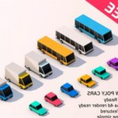 Cartoon Low Poly City Cars Pack