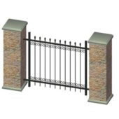 Wrought Iron Fence With Brick V1