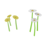 Low Poly Flowers & Grass