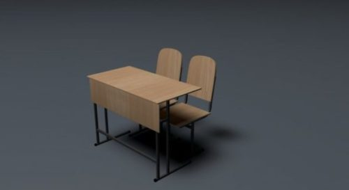 School Table With 2 Charis