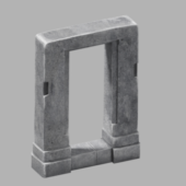 Antique Temple Stone Door