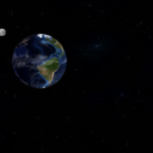 Earth And Moon Space Scene