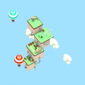 Flying Island Lowpoly Scene