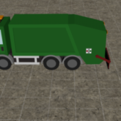 Car Garbage Truck Low Poly