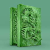 Green Marble Ornament Dragon Shape