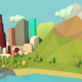 Low-poly Town Scene
