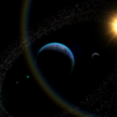 Space Scene Planet Asteroids