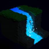 Voxel Waterfall Landscape
