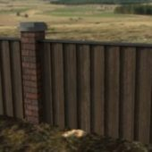 Wooden Brick Fence