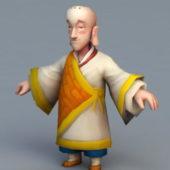 Buddhist Monk Cartoon Character