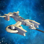 Sci-fi Gunship Spaceship