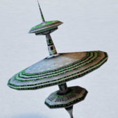 Sci-fi Round Plate Space Station