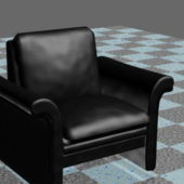 Furniture Black Leather Club Chair