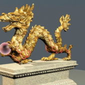 Vintage Chinese Dragon Sculpture