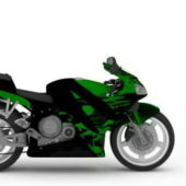 Modern Green Sport Motorcycle