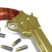 Revolver Weapon With Bullets