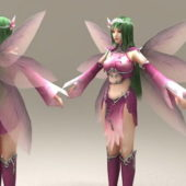 Purple Fairy Girl Character