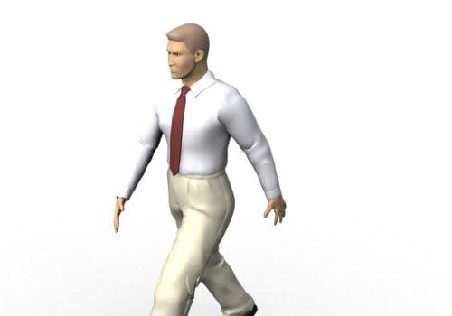 Business Man White Shirt Walking