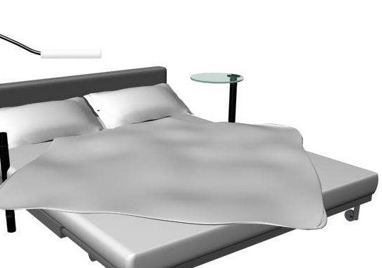 Adjustable Bed With Table And Lamp