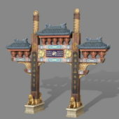 Vintage Ancient Chinese Paifang Gate