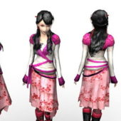 Ancient Uniform Chinese Girl Character
