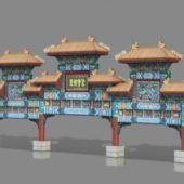 Ancient Paifang Gate Building